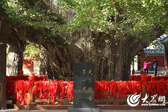 天下第一银杏树石碑后面的围栏上挂满了游客祈福