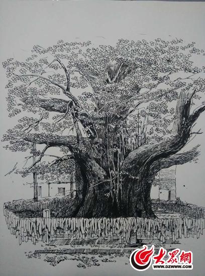 银杏树墙体手绘图片大全