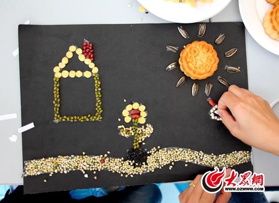 区带孩子们玩转五谷杂粮版月饼画