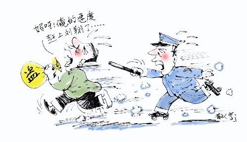 小偷追赶卡通图片素材