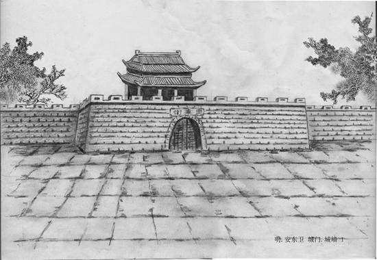 (明)安东卫城门和城墙.jpg